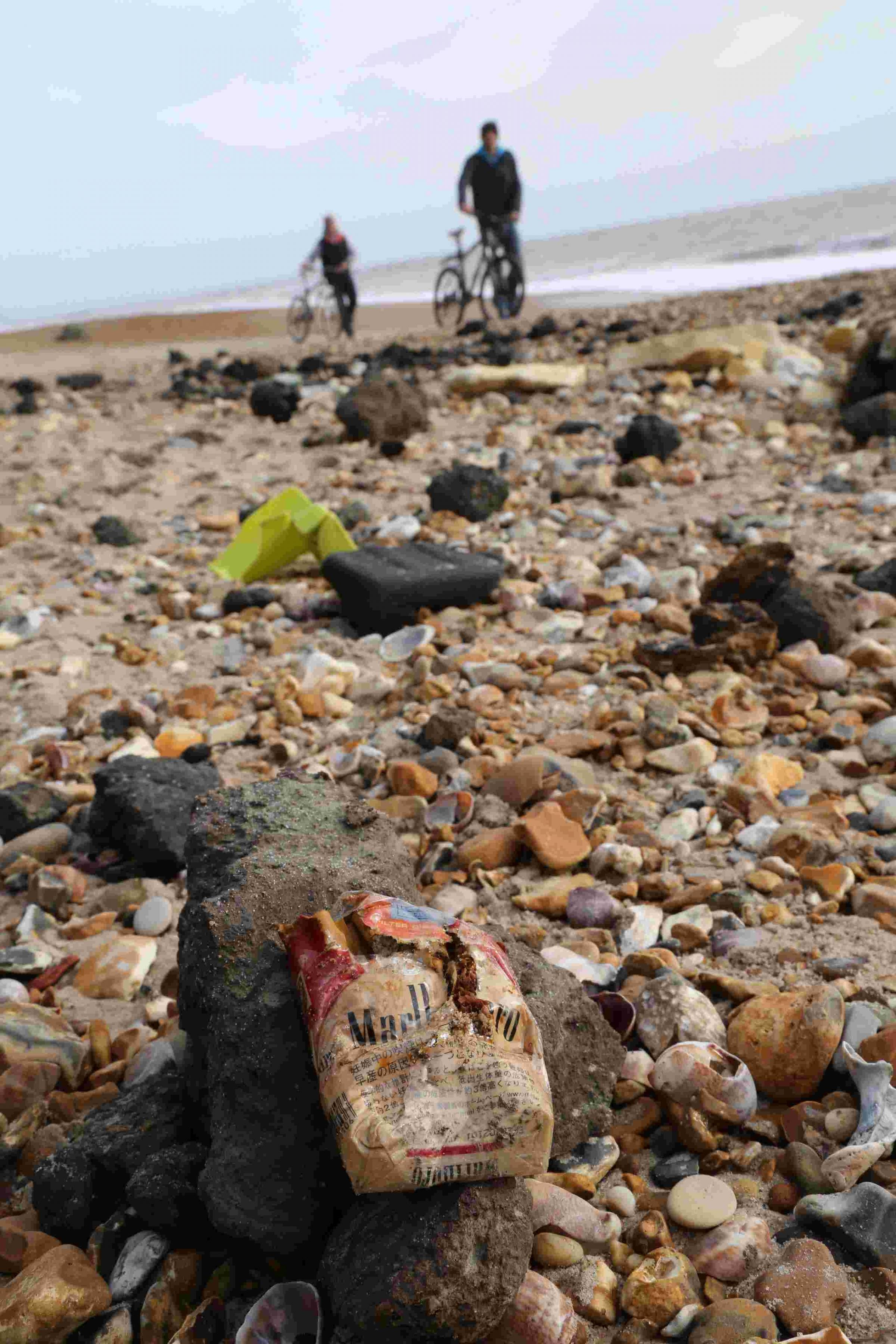 Hundreds of cigarette packets wash up at Hengistbury Head after winter storms