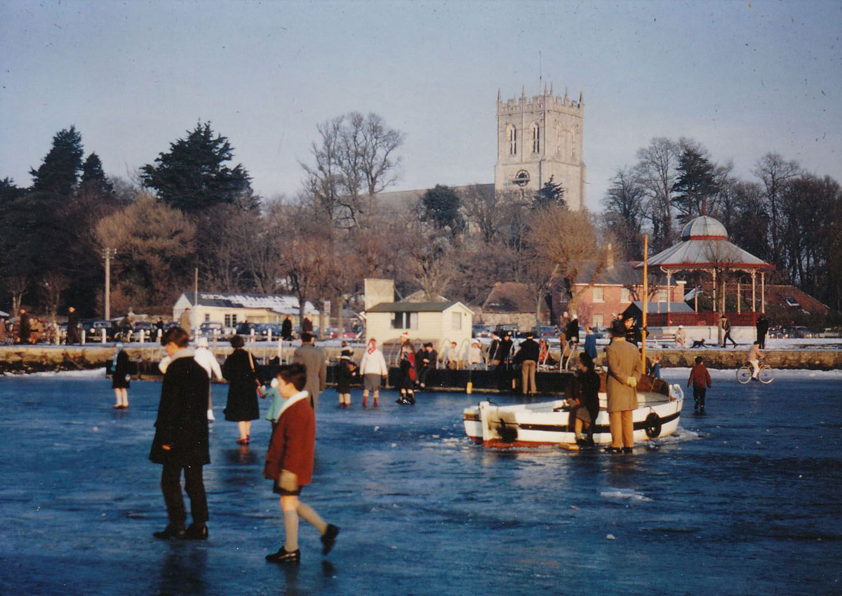 Geoffrey and Richard Adams walk on the frozen River Stour at Christchurch during the cold spell of 1963 – the river was frozen over from Boxing Day 1962 and didn't thaw until early March 1963