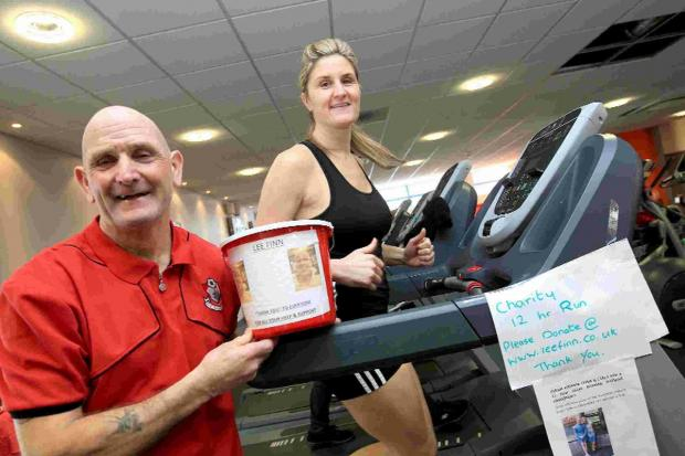 Carla Hayes and her dad Chris Corbin ran for 12 hours on a treadmill to raise funds for a friend with cancer
