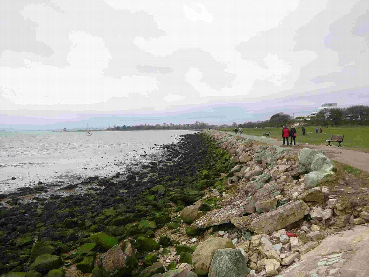 CRUMBLING: The retaining rock wall which is slipping towards the sea at Whitecliff