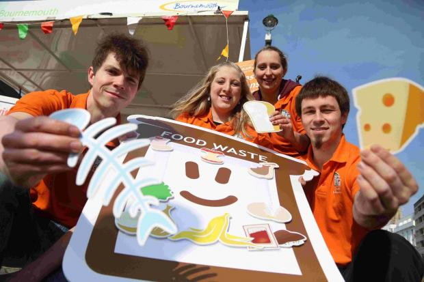 RECYCLE: Rosie Ryves-Webb, centre with waste awareness officers at the 'Feed Your Food Caddy Fiesta'