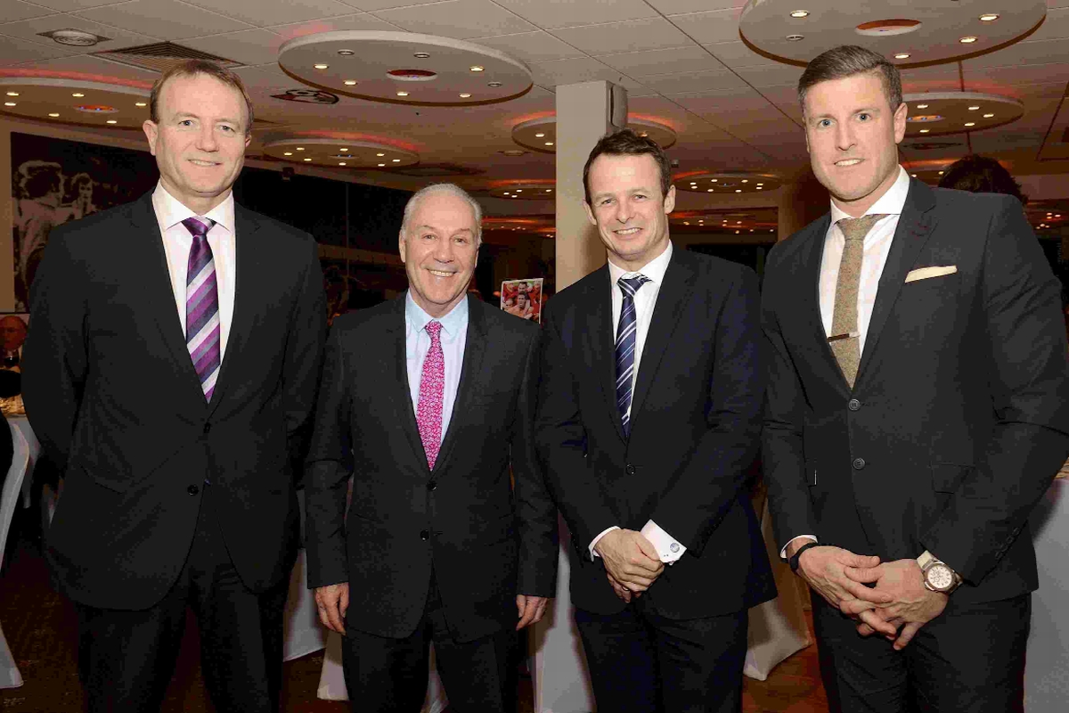STARS:  Shaun Udal, Austin Healey and Steve Fletcher with Cherries chairman Jeff Mostyn