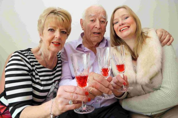 GOING STRONG: Ron Southwell celebrates his 100th birthday with his daughter and grandaughter