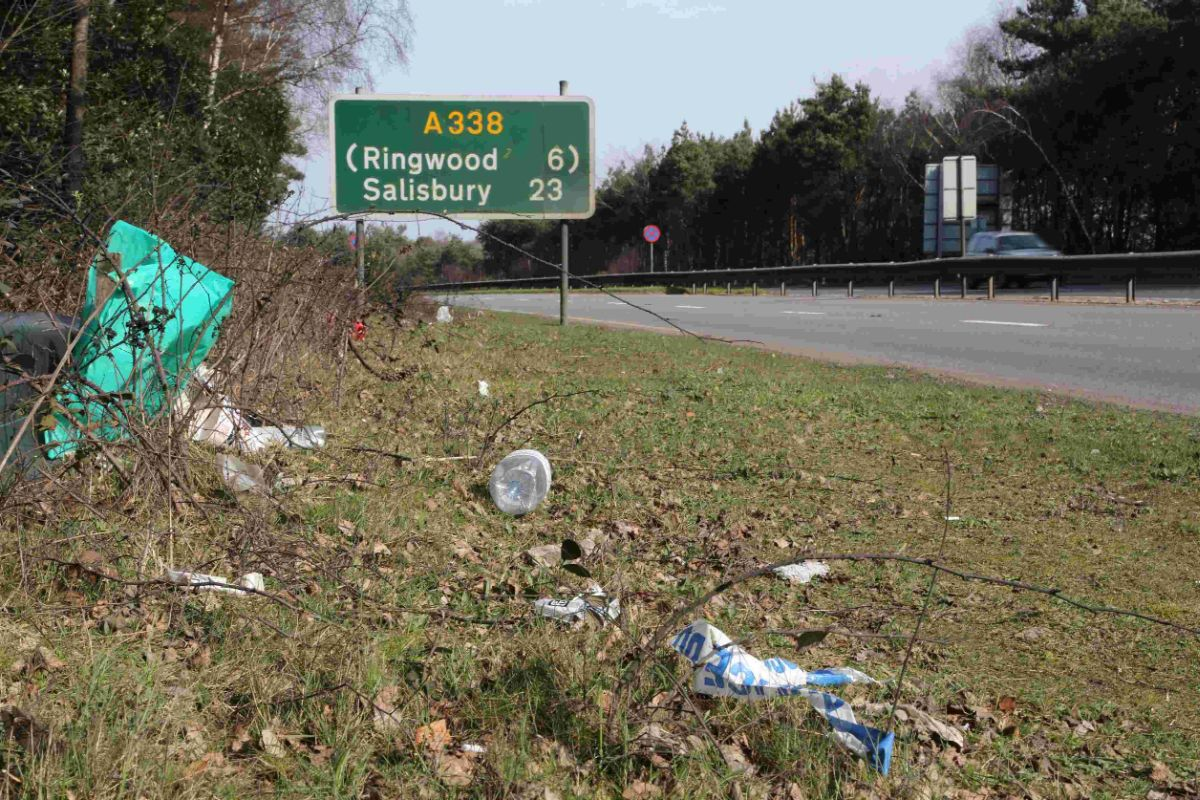 RUBBISH: Litter along the side of the A338 between Bournemouth and Ashley Heath