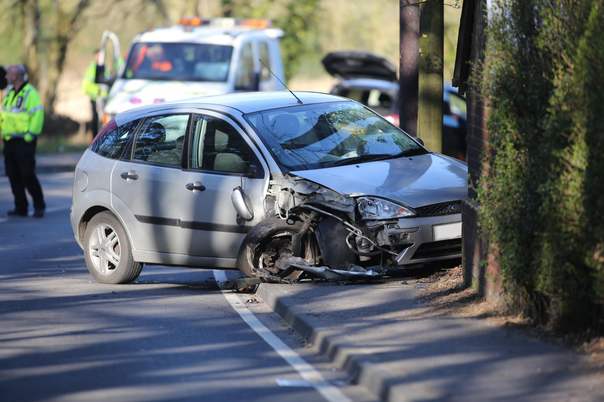 The Ford Focus involved in a collision on the B3072 at Verwood