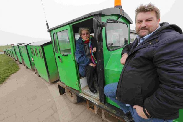 Joyce Faris, owner of the Hengistbury Head land train, and mechanic Alan Barnard