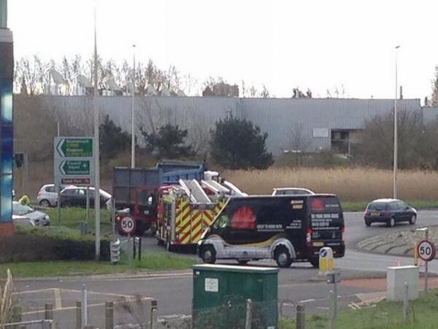 Emergency services called to crash on Holes Bay roundabout. Pic from Dale