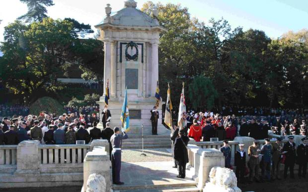 PAYING RESPECTS: Remembrance Sunday service at the War Memorial in Bournemouth Central Gardens