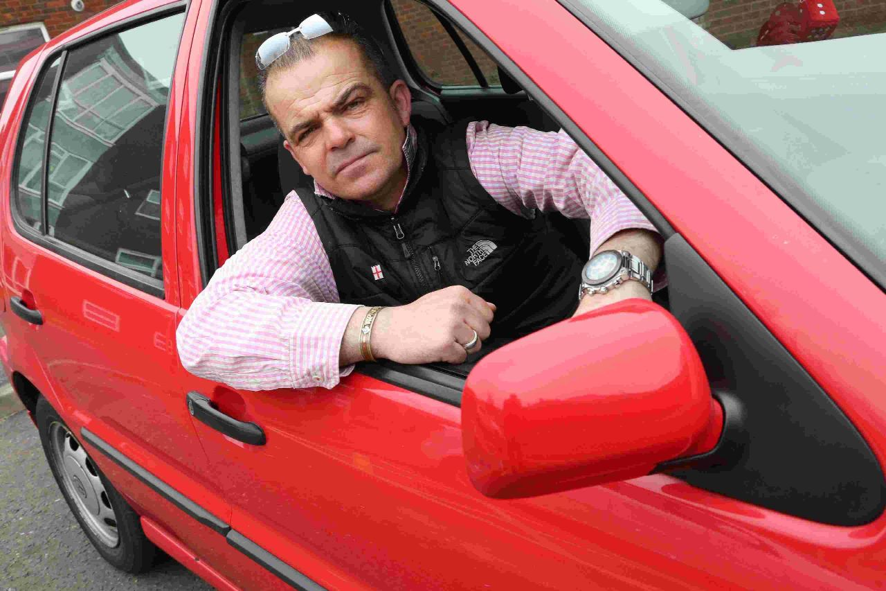 Blue Badge holder Darin Ball in his car