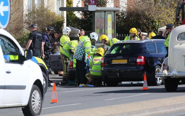 Bournemouth Echo: Emergency services called to three-car crash on Barrack Road in Christchurch