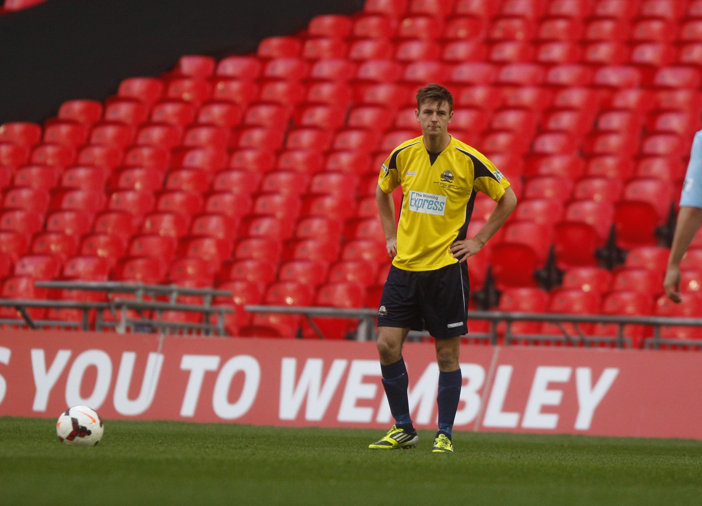 WHAT A DAY! Josh Carmichael eyes up a free kick for Gosport Borough at Wembley this afternoon