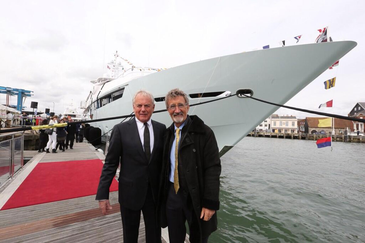 "VIDEO: Inside Eddie Jordan's new £32m Sunseeker as Formula One mogul arrives in Poole to collect ""dream"" yacht"