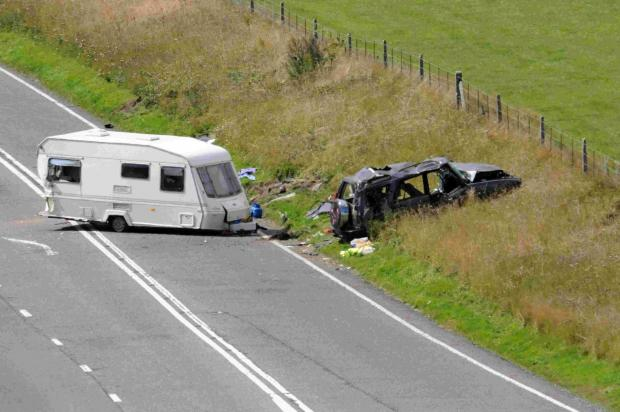 TRAGIC: The scene on the A35 near Askerswell. Inset, Rosemary Evans
