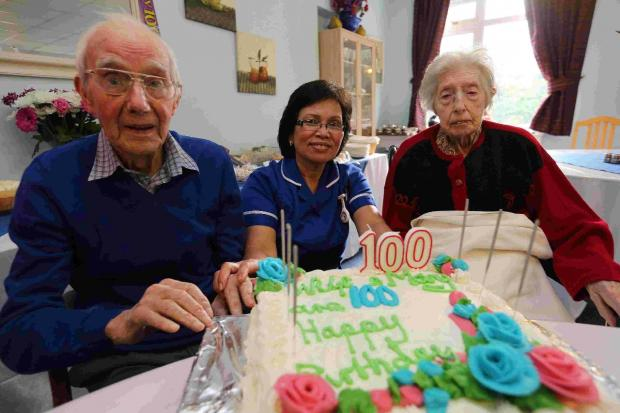 Bournemouth Echo: Wilfred Long and Mary Revens with Senior Carer Ellen Merez