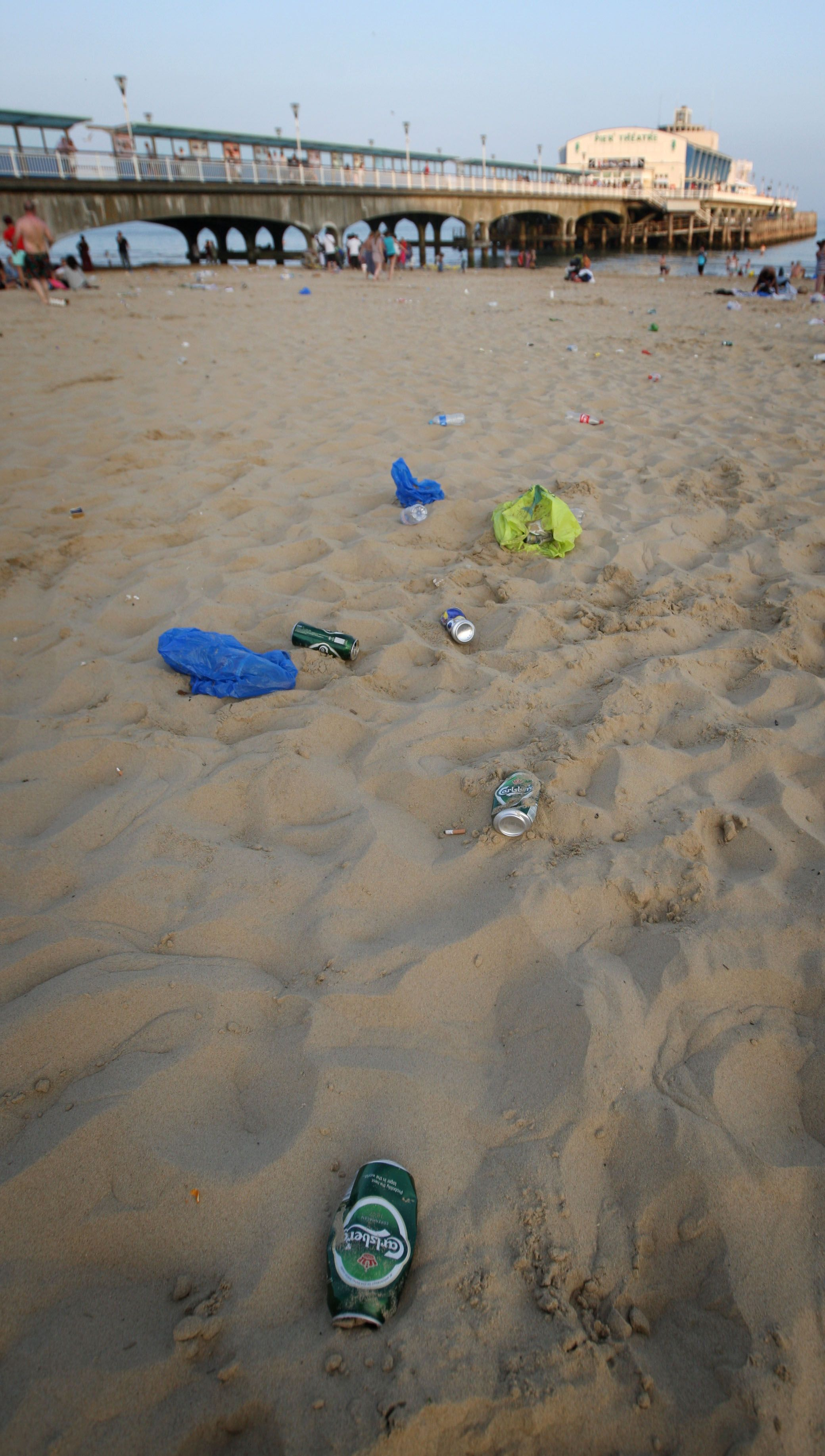 Litter left on Bournemouth beach during last summer's heatwave