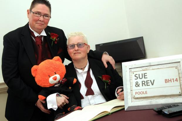 Reverend Kersten Kirkland, right, and her partner Sue Kirkland are the first gay couple to get married in Poole at the Guildhall.
