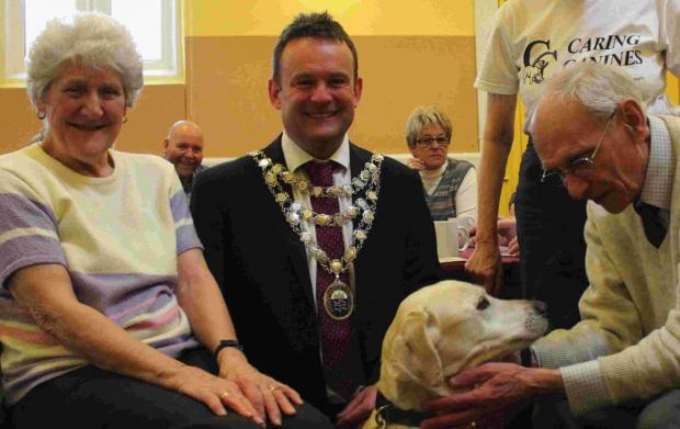 HAPPY DAYS: Mayor Andy Hampton with Bessie the dog