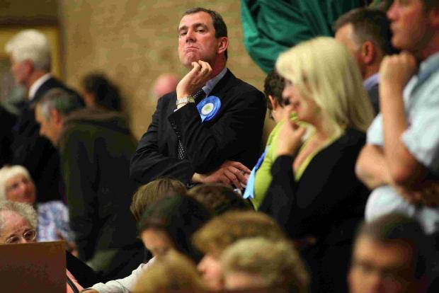 Bournemouth Echo: Stephen MacLoughlin at the 2011 local election count where the Lib Dems pipped him to the post by two votes
