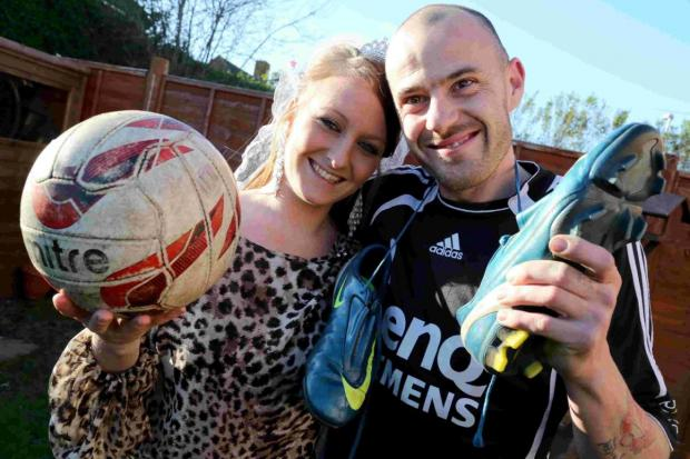 Bournemouth Echo: EYES ON THE BALL: Stacey Johnson and Chris Forbes postpone their wedding so Chris can play football