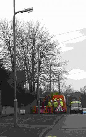 LED: Lamposts being erected at Lake Road, Verwood