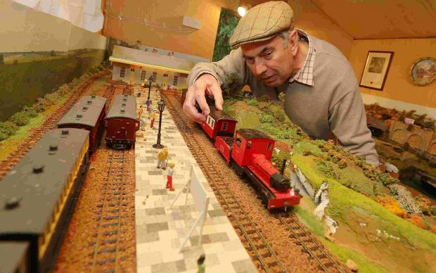 CHOO CHOO:  David Hough with his model railway layout which he wants to give to a charity or school