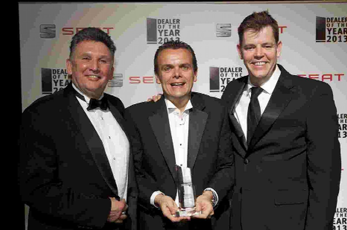 TOP OF THE RANGE: Les Gatrell, Stephen Snow and Neil McCue receiving the Fleet Dealer of Year Award