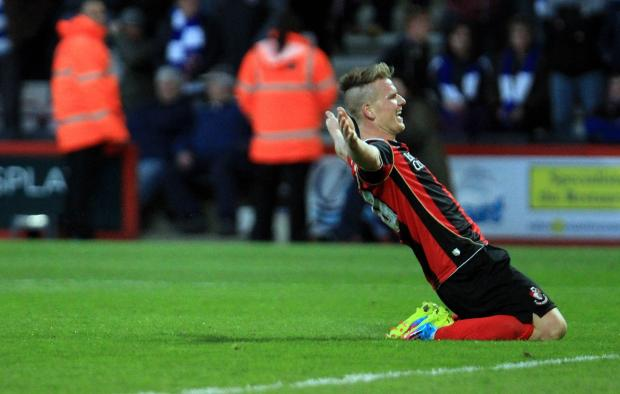 GOAL-DEN BOY: Matt Ritchie celebrates this evening