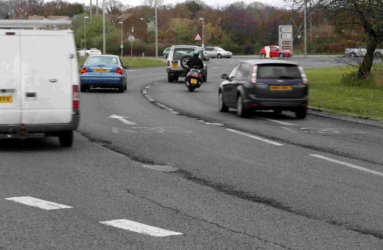 Stony Lane roundabout is in a poor state following weeks of bad winter weather