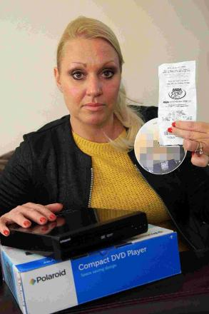 HORROR: Gillian Scammell, who bought a new DVD player from Asda only to discover that it contained a gay porn video