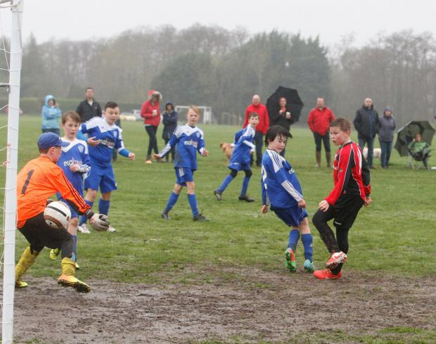 REDS RULE: Rossgarth U11s on the attack in their 4-1 win over Bransgore