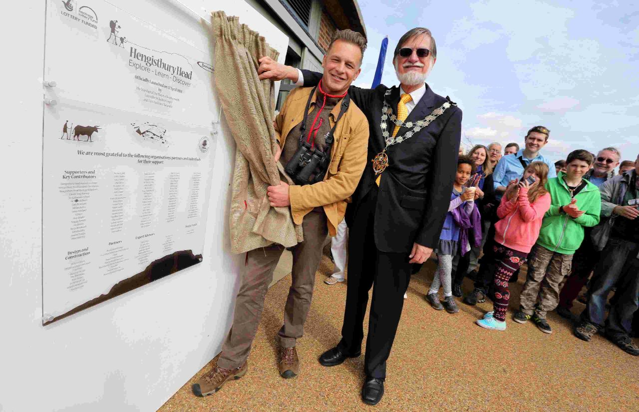 OFFICIALLY OPEN: TV presenter Chris Packham and the Mayor of Bournemouth Cllr Rodney Cooper open the new Hengistbury Head Visitor Centre