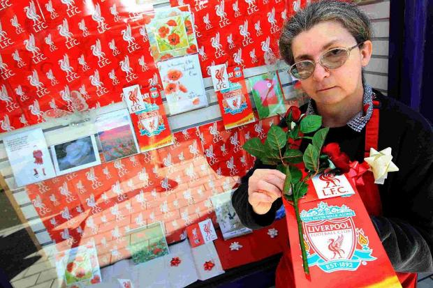 PAYING HER RESPECTS: Liverpool fan Janice Southwell