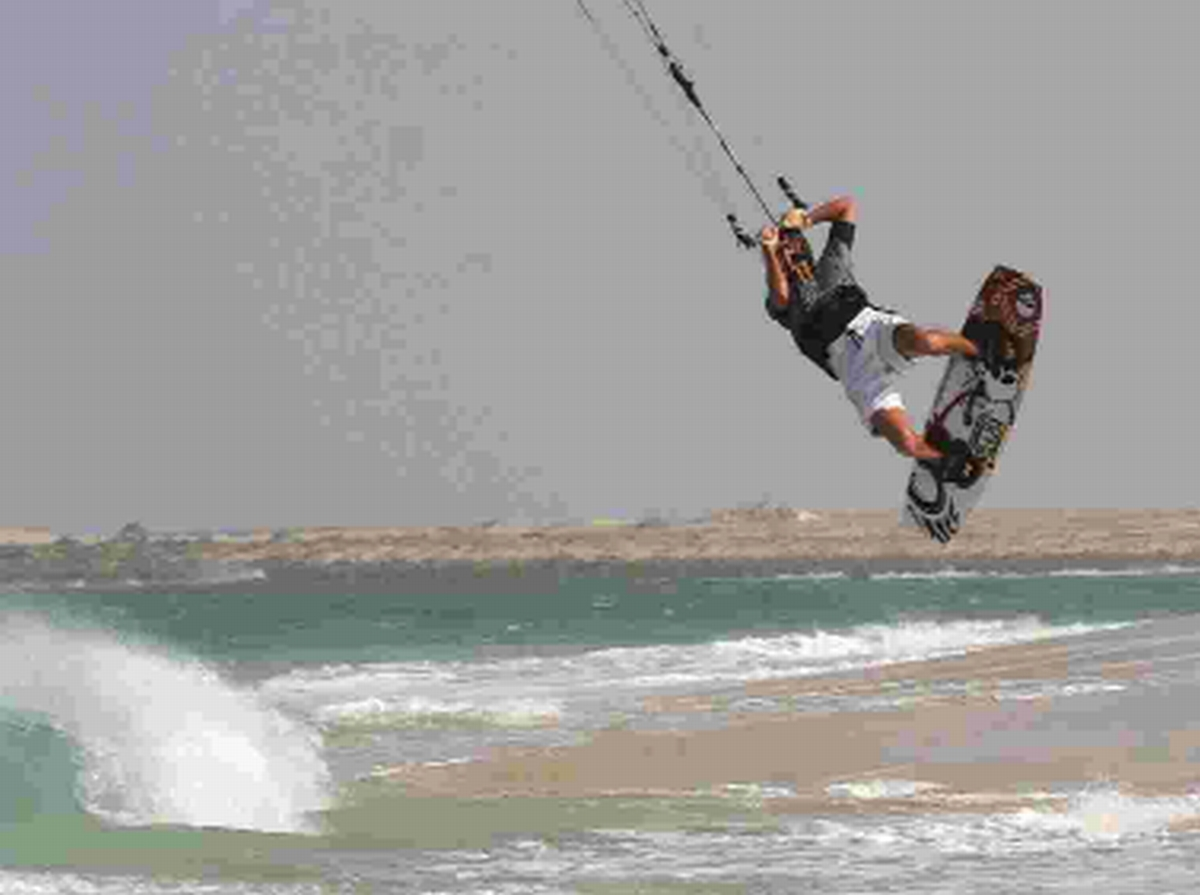FLYING HIGH: A kite surfer in Sandbanks