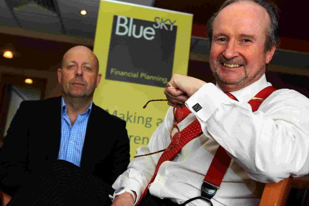 BRACED: Financial guru Justin Urquhart- Stewart with Blue Sky MD Gary Neild, left