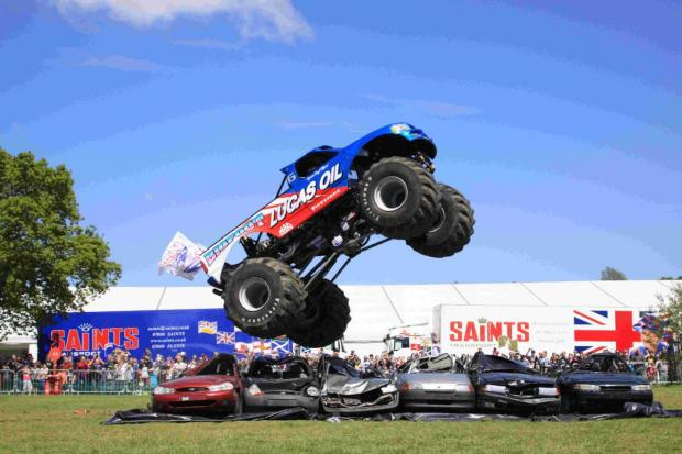 FLYING: Bigfoot crushes cars. Picture by Lisa Morris Monsterphotos.co.uk