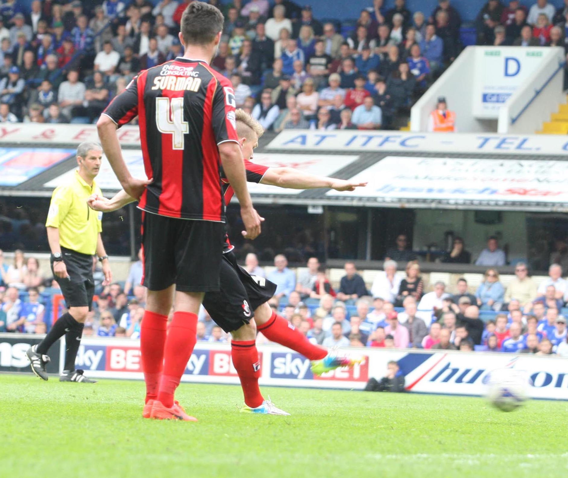 LEVELLER: Matt Ritchie nets Cherries' second goal at Portman Road