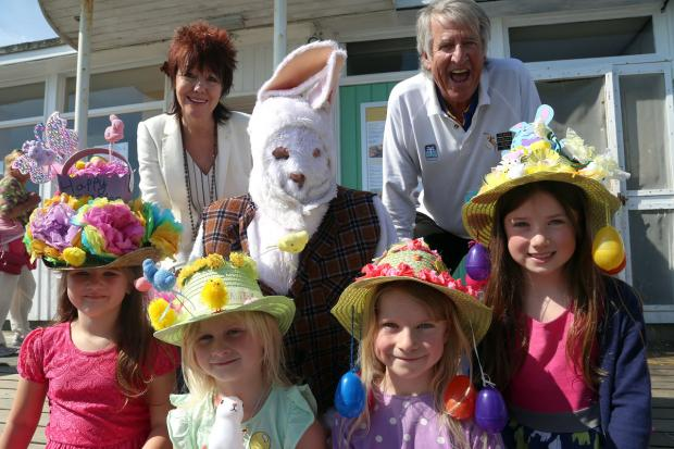 HAT'S THE WAY TO DO IT: Children take part in Variety's Easter Bonnet Competition at Key West on Bournemouth Pier, pictured with judges Celia Bygraves and DJ Ed Stewart