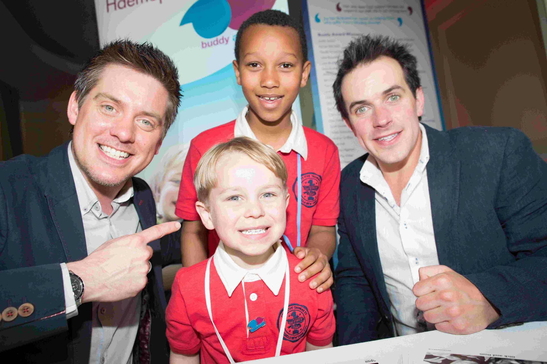 AWARDS: Buddy Awards winner Cassius Lister and his little brother Jonny with TV presenters Dick and Dom