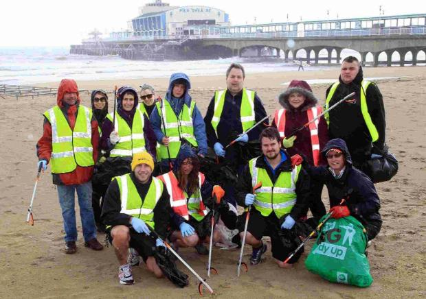 IN THE BAG: Volunteers taking part in beach cleans at Bournemouth and Poole on Saturday and Sunday