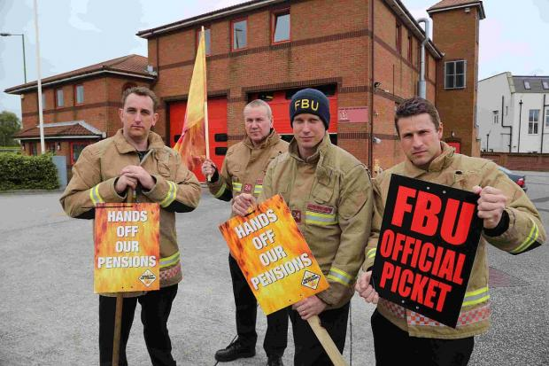 DOWNED TOOLS: Firefighters striking