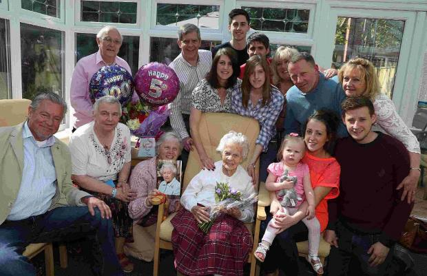 BIRTHDAY GIRL: Doris Brown celebrates her 105th birthday surrounded by her family