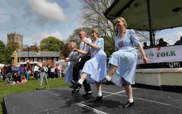Revellers enjoy music and dancing from Spank the Planks