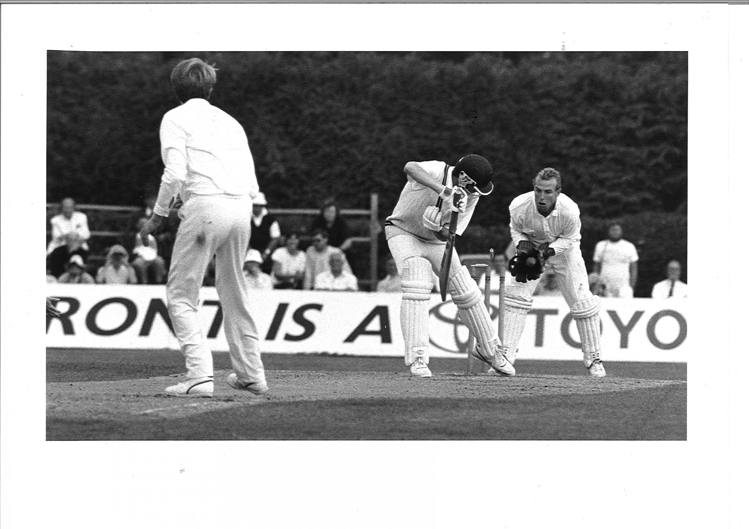 THE LAST STAND: Shaun Udal takes Hampshire's final wicket at Dean Park in 1992.
