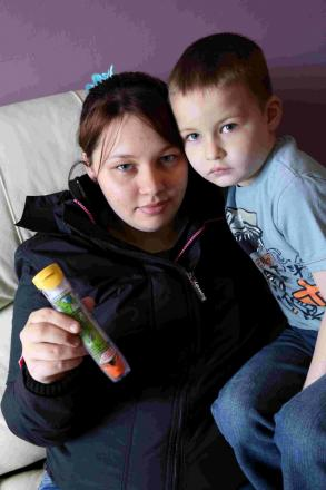 BATTLE: Gemma Price with her son Jake who has allergies and could have a serious reaction to some types of food