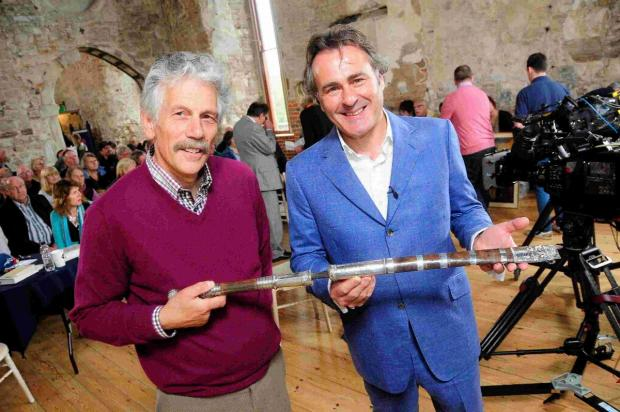 KNIFE ITEM: Stefan Tyszkiewicz who brough a Burmese Sword for valuation with 'Flog It' presenter Paul Martin