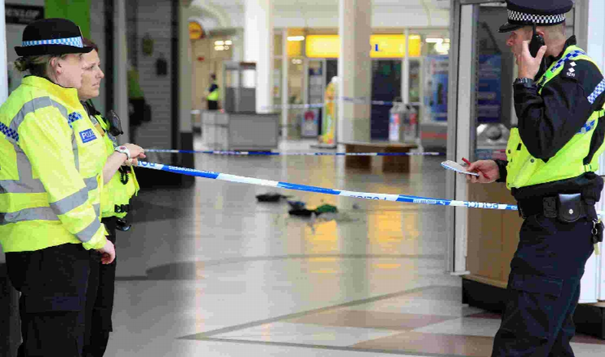 Police at the Sovereign Centre after the stabbing