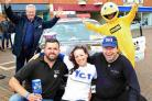 TEAMWORK: From left are Derek Smith of YCT, Simon Harder, Wendy Parrott from YCT, Matt Black of the rally team and Mr Zippy