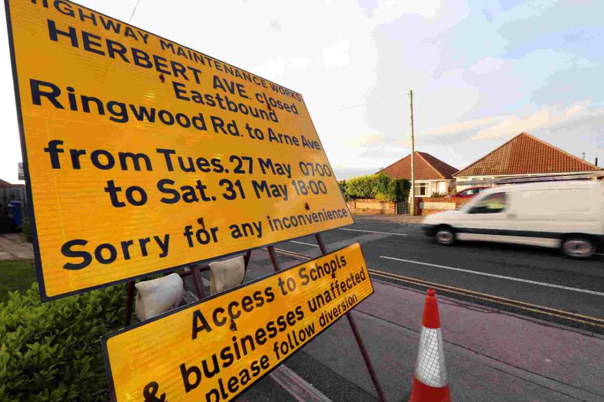 WARNING: Roadworks signs at Herbert Avenue