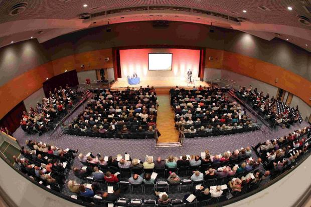 MEETING: The audience at the BIC on Saturday