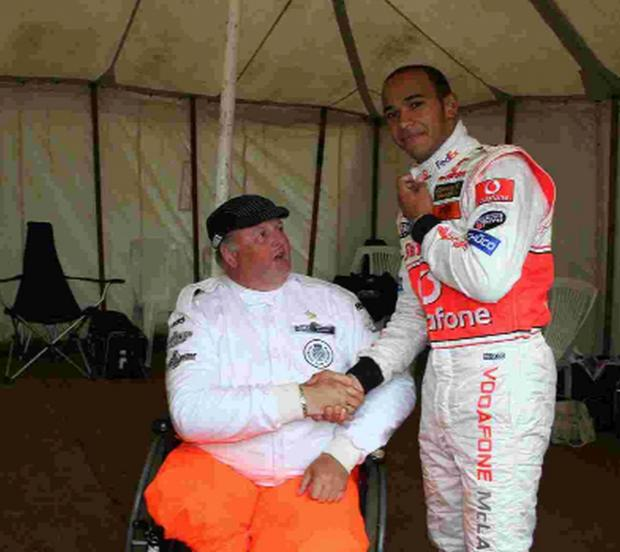 ATTEMPT: Steve Tarrant with Lewis Hamilton